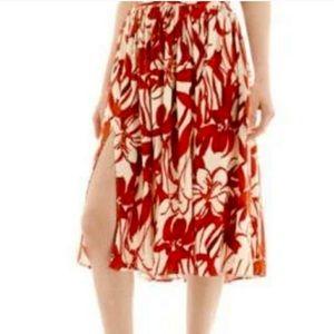 ASOSMango hojaldre red floral open midi skirt 4